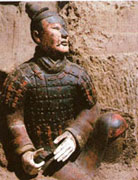 A coloured  terracota warrior