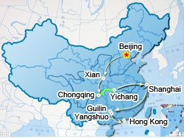 map of 16-day Yangtze cruise experience tour